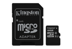 Карта памяти Kingston MicroSDHC 16GB Class 10 UHS-I + SD адаптер (SDC10G2/16GB)