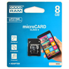 Карта памяти MicroSDHC 8GB Class 4 Goodram M40A + SD-adapter (M40A-0080R11)